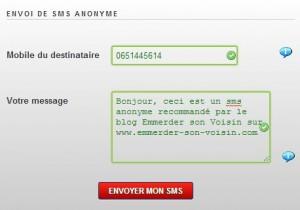 Envoi de SMS anonymes.