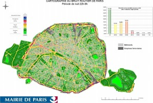 Carte du bruit à Paris de nuit et en île de France.