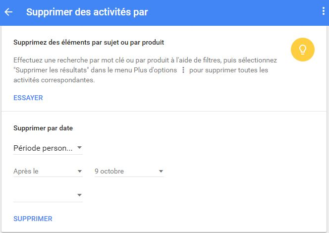 Supprimer ses traces sur Google via My Activity.